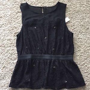 Black Sleeveless Peplum Blouse